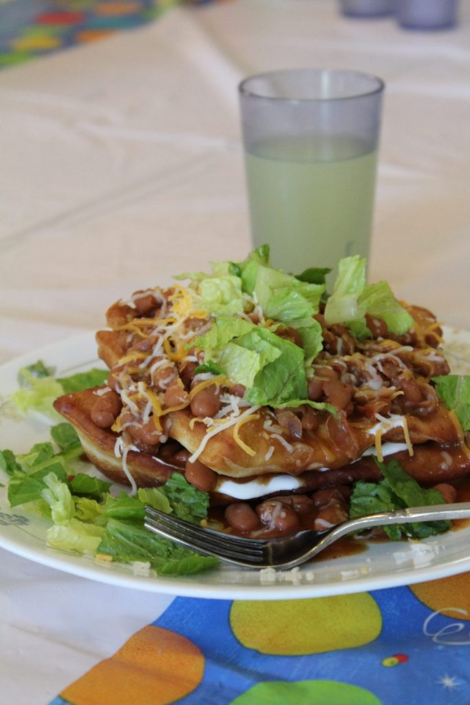 Family gatherings often center around good food! Some foods are so loved that they become family traditions. Such is the case for Navajo Tacos in our family! Savor the hearty chili, the satisfying fry bread, and all the flavorful toppings. Mmmm...