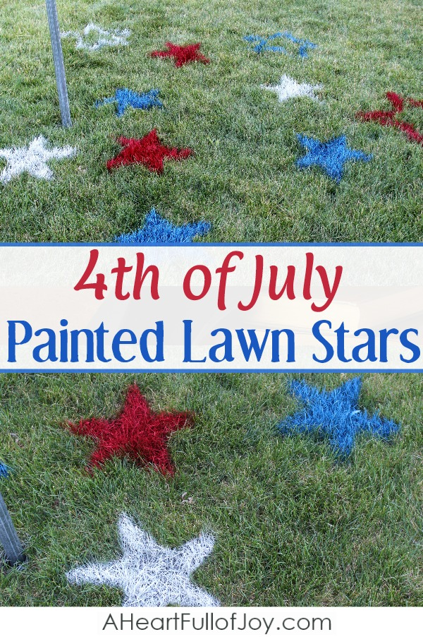 4th of July outdoor decoration painted lawn stars