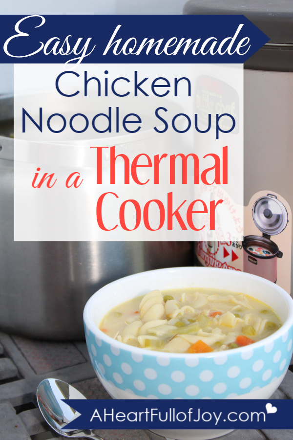 Easy Homemade Chicken Noodle Soup in a Thermal Cooker