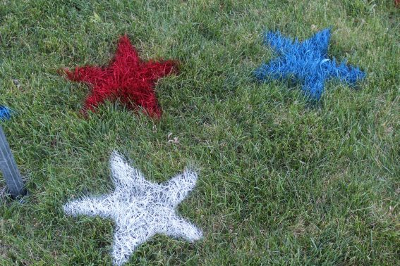 4th of July painted lawn stars outdoor decoration
