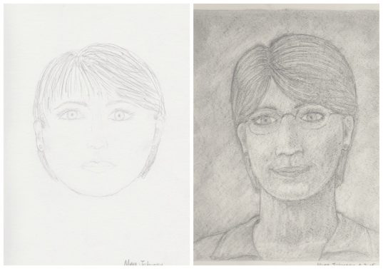 My before and after drawings with Drawing on the Right Side of the Brain