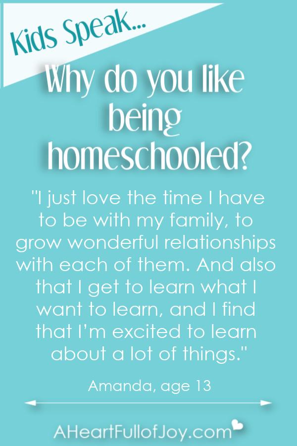 Hear why kids like being homeschooled.