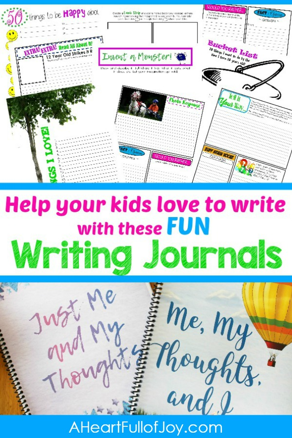 Sometimes the best way to teach writing to kids is to help them learn to love writing. These fun writing journals were created with this goal in mind. For kids approx 9-13. #lovetowrite #writinglove #writingjournal #writingprompts #funwriting