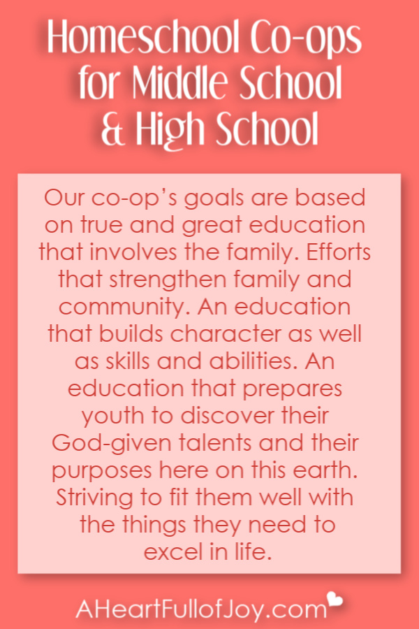 Great goals for our homeschool co-op for teens
