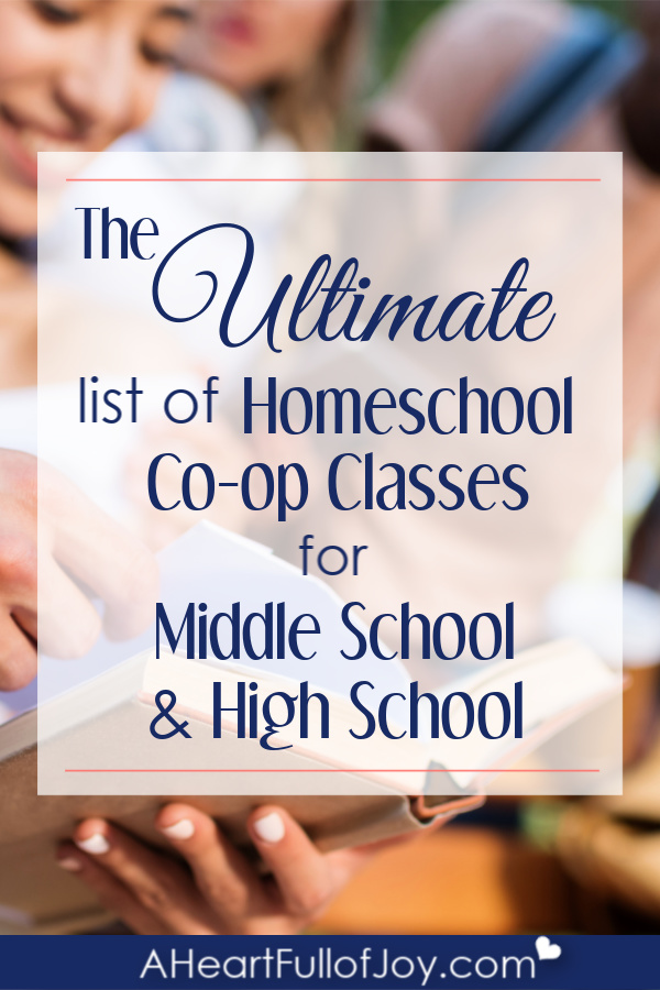 Homeschool co-op class ideas for middle school & high school