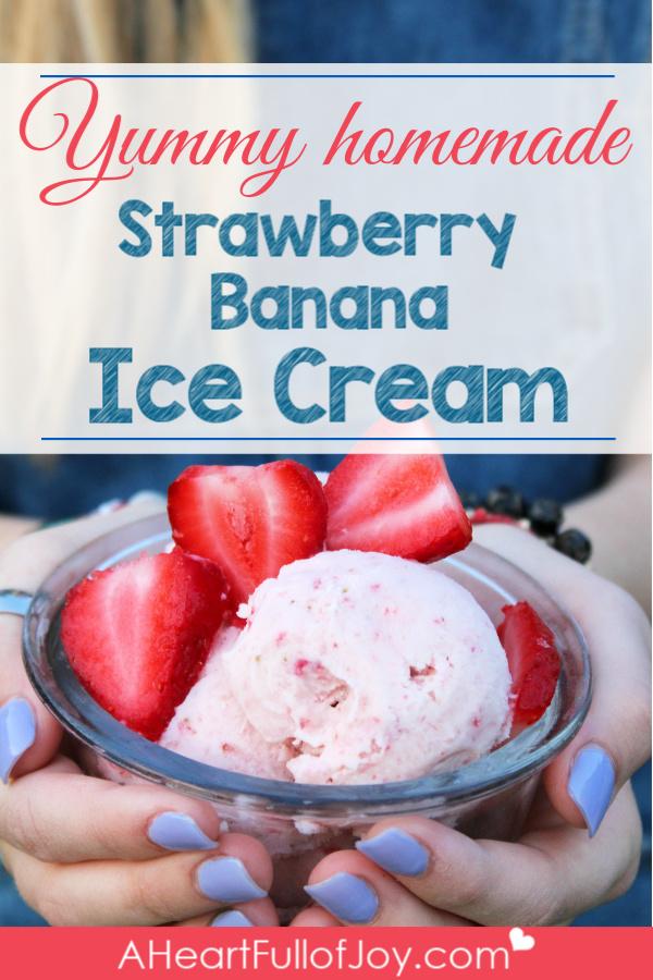 Yummy homemade Strawberry Banana Ice Cfream